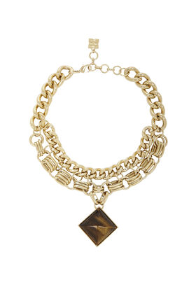 Multichain Necklace With Pyramid Pendant