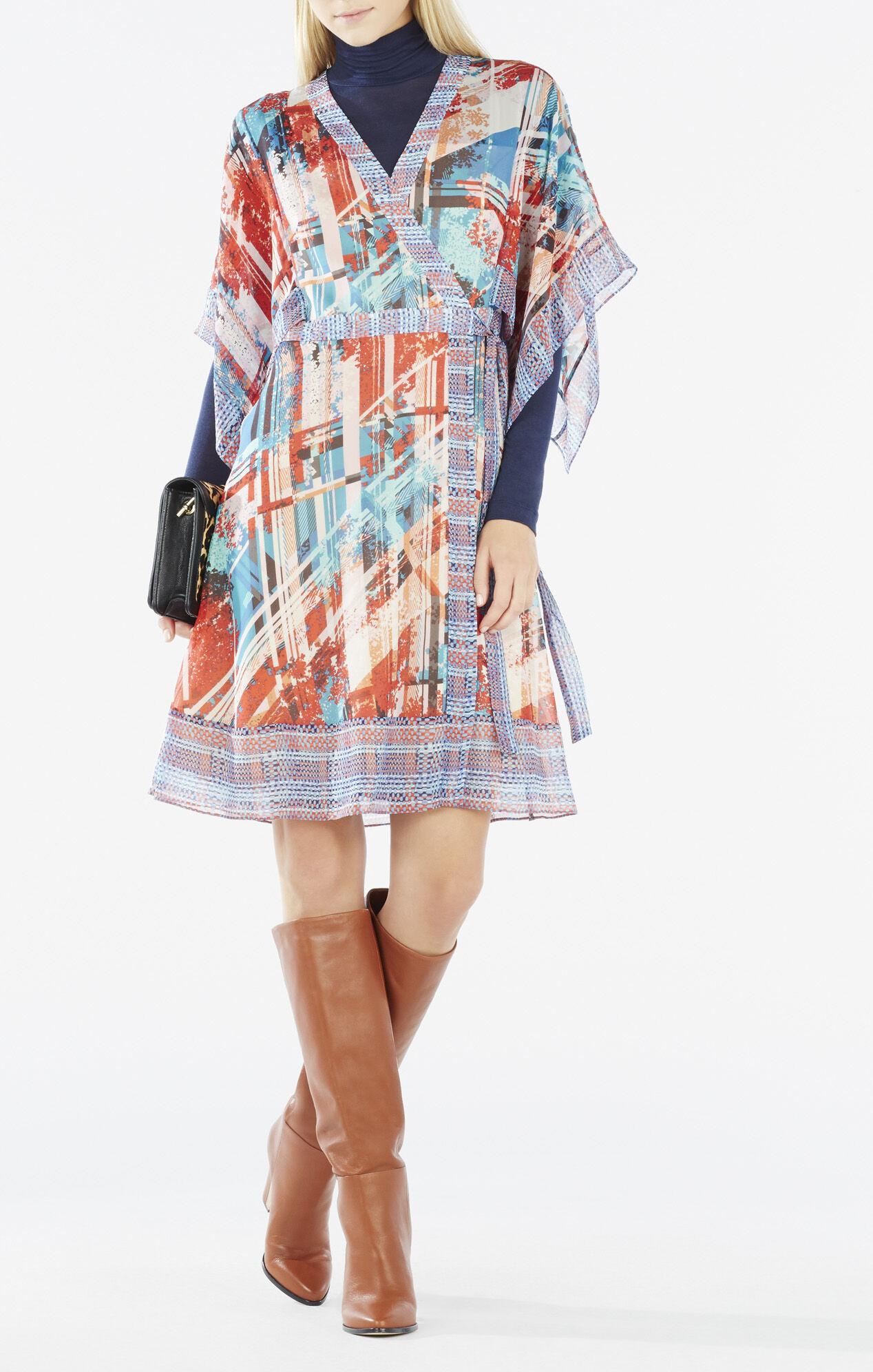 Krystie Print-Blocked Kimono Wrap Dress
