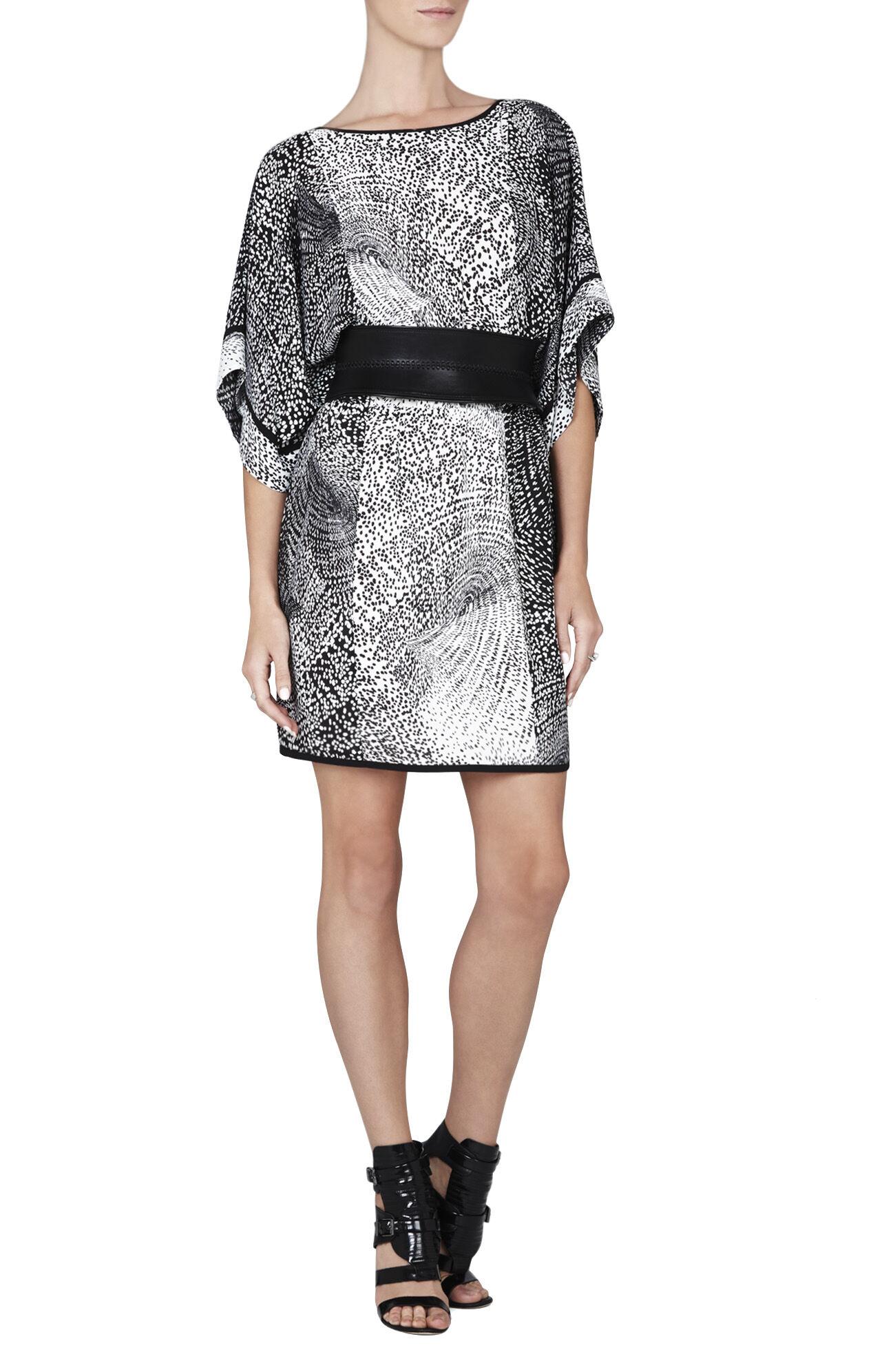 Lois Print-Blocked Kimono Dress