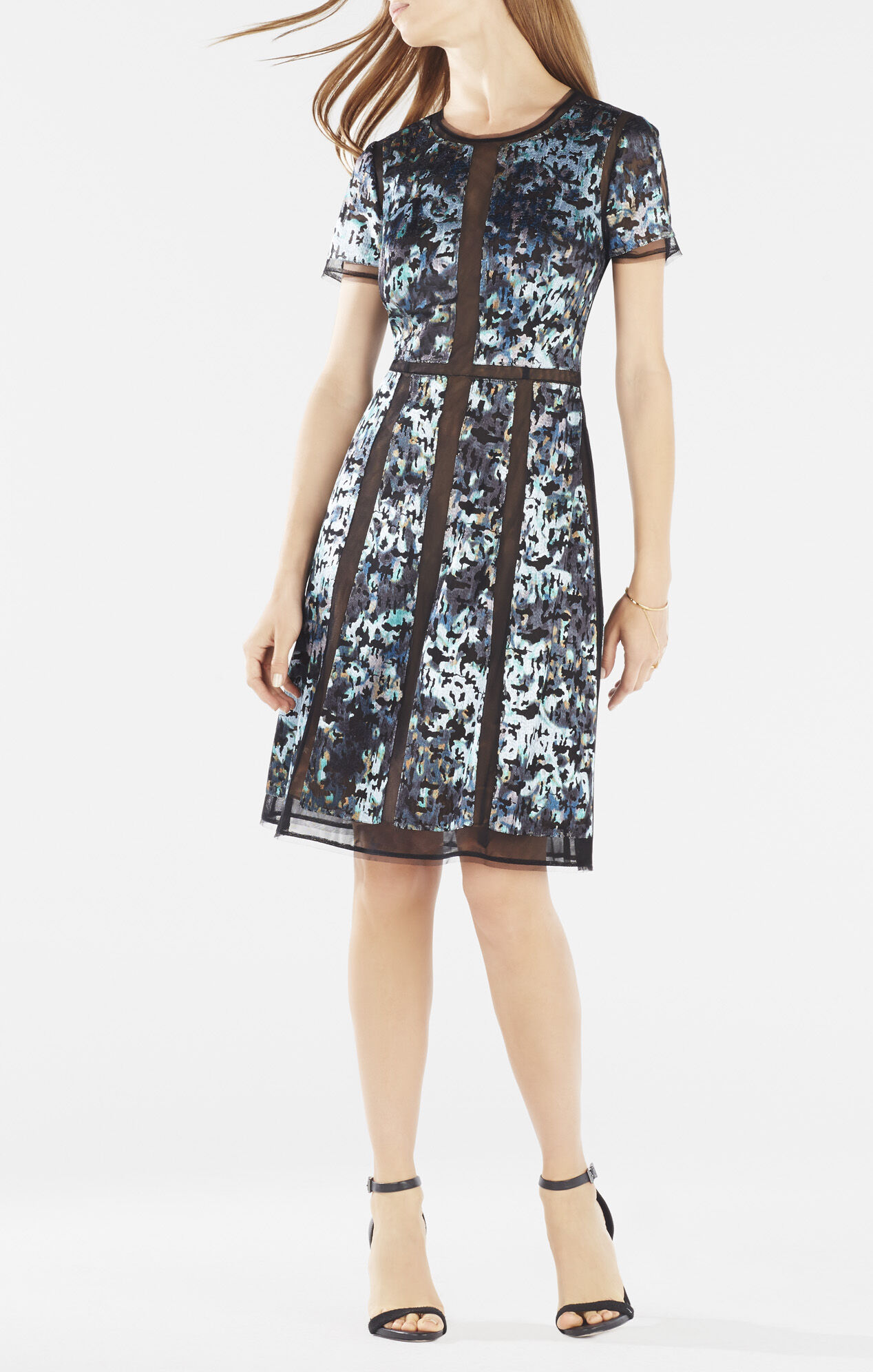 Adalina floral embroidered mesh dress