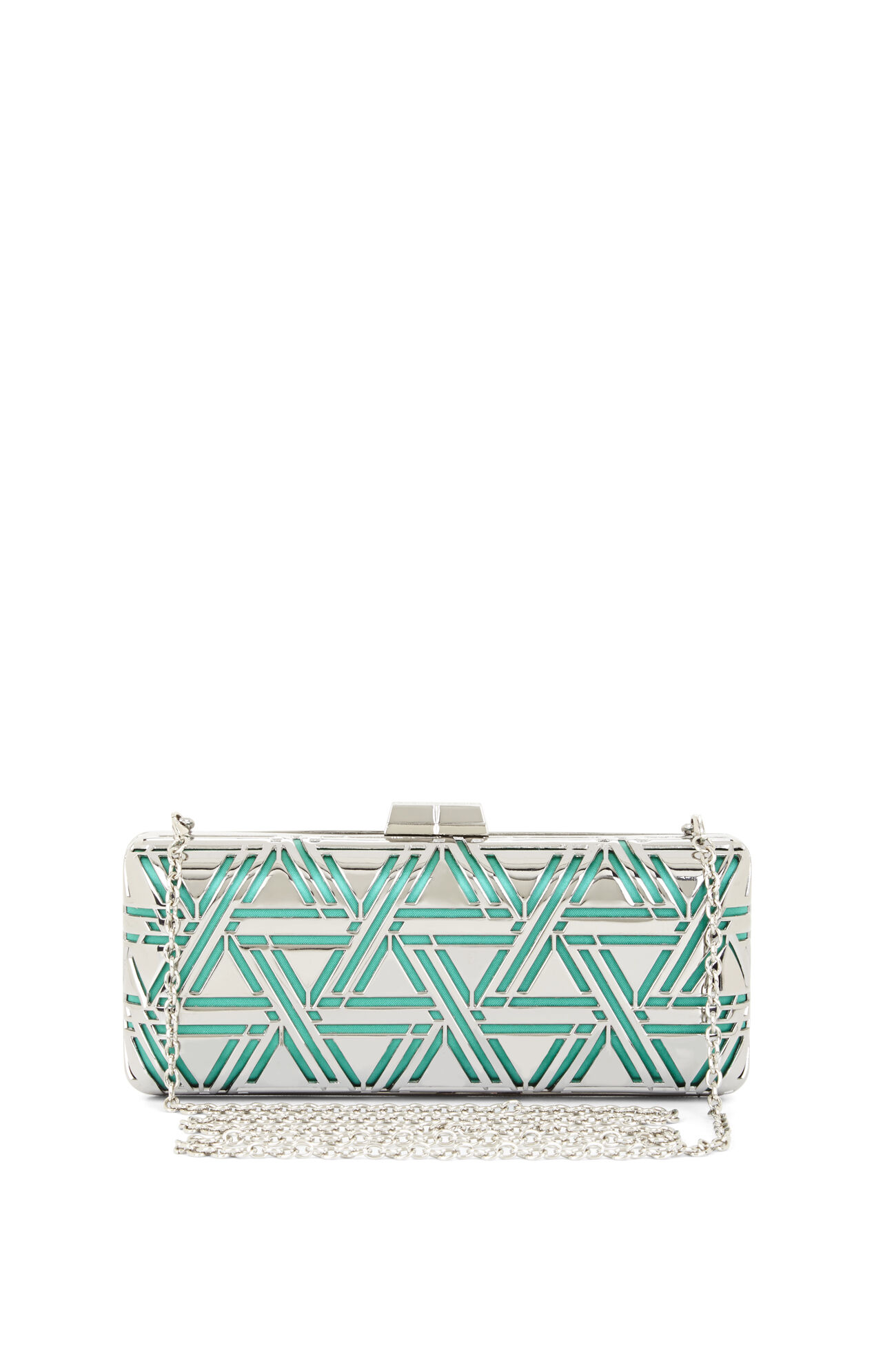 Kerri Metallic Triangle Perforated Cage Clutch