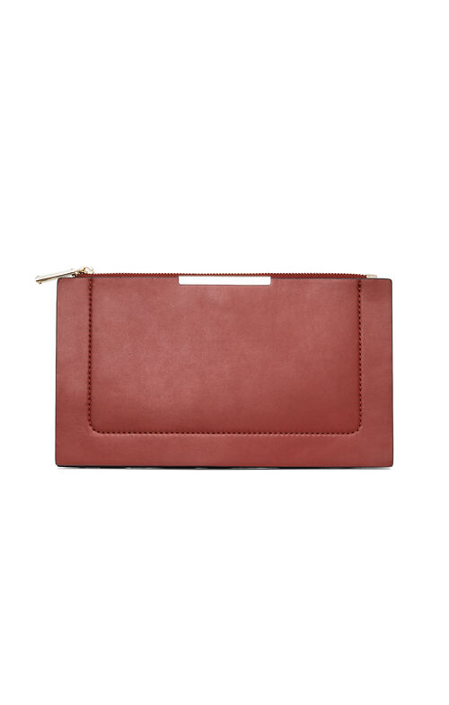 Becca Double-Layer Faux-Leather Clutch
