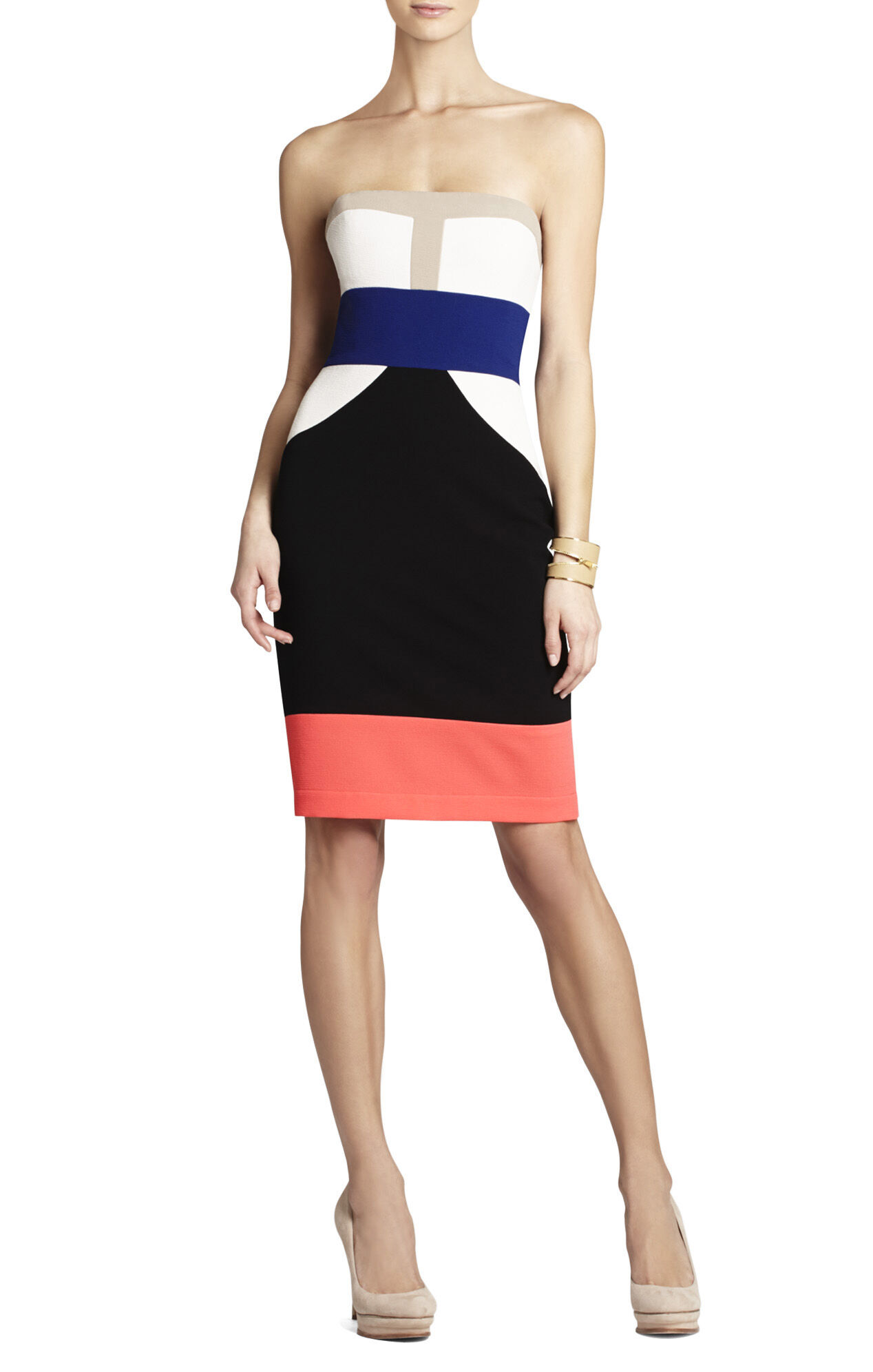 Reese Strapless Color-Blocked Dress
