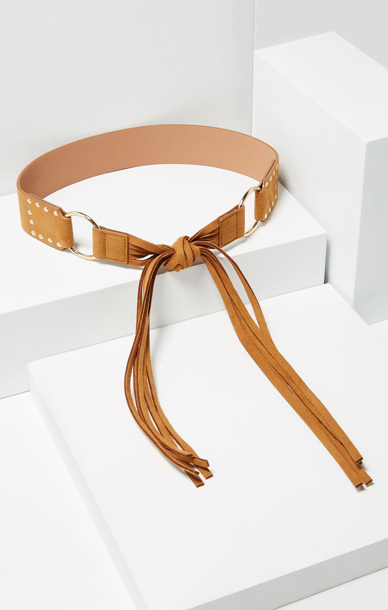 Faux-Suede Fringe Belt