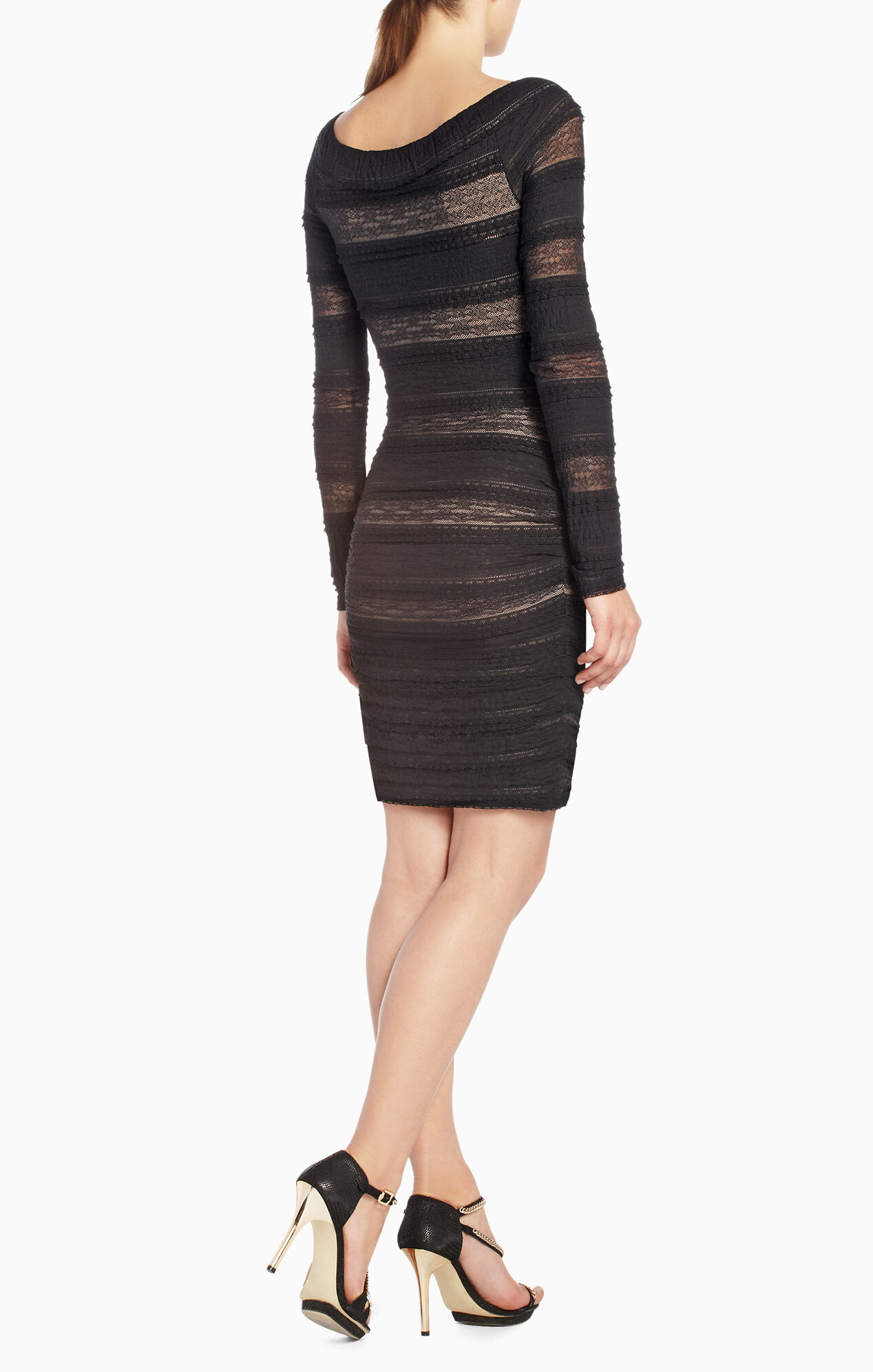 Halle Shirred-Lace Dress