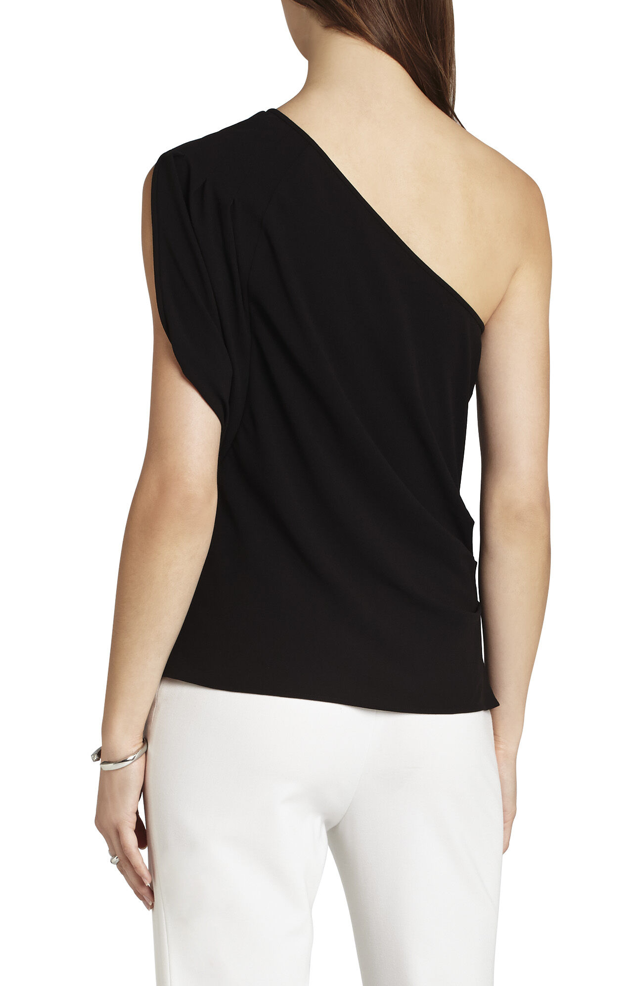 Carli One-Shoulder Pleated Top