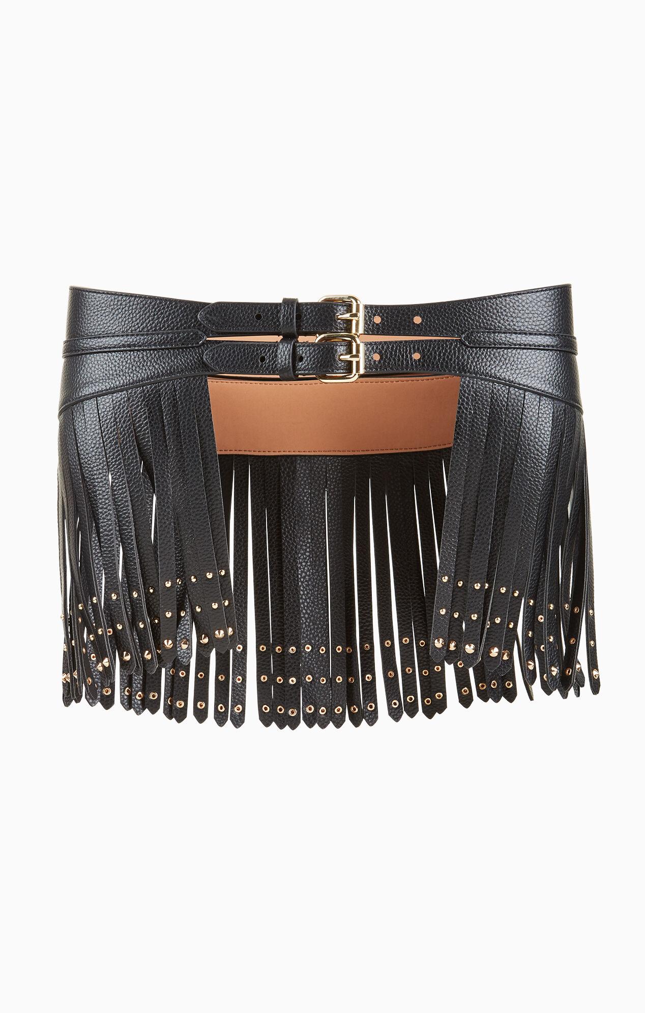 studded fringe waist belt