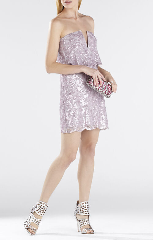 Kate Scallop Hem Sequined Strapless Dress