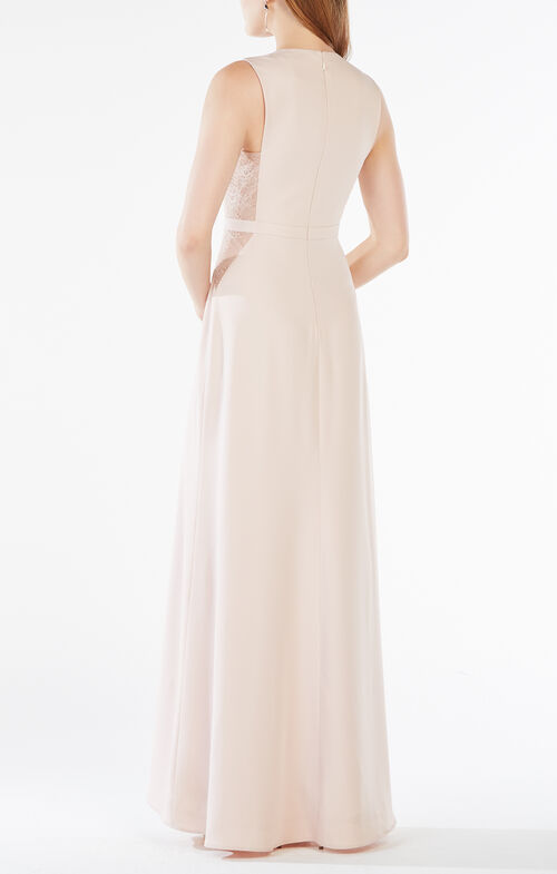 Ashlee Lace-Paneled Satin Gown