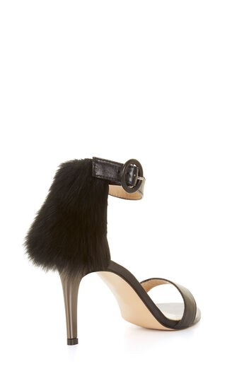 Poppy High-Heel Fur Trim Sandal