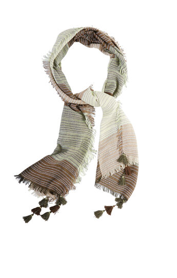 Color-Blocked Fringe Scarf