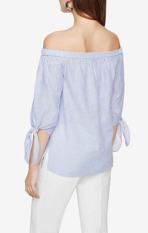 Tasmin Striped Off-The-Shoulder Top