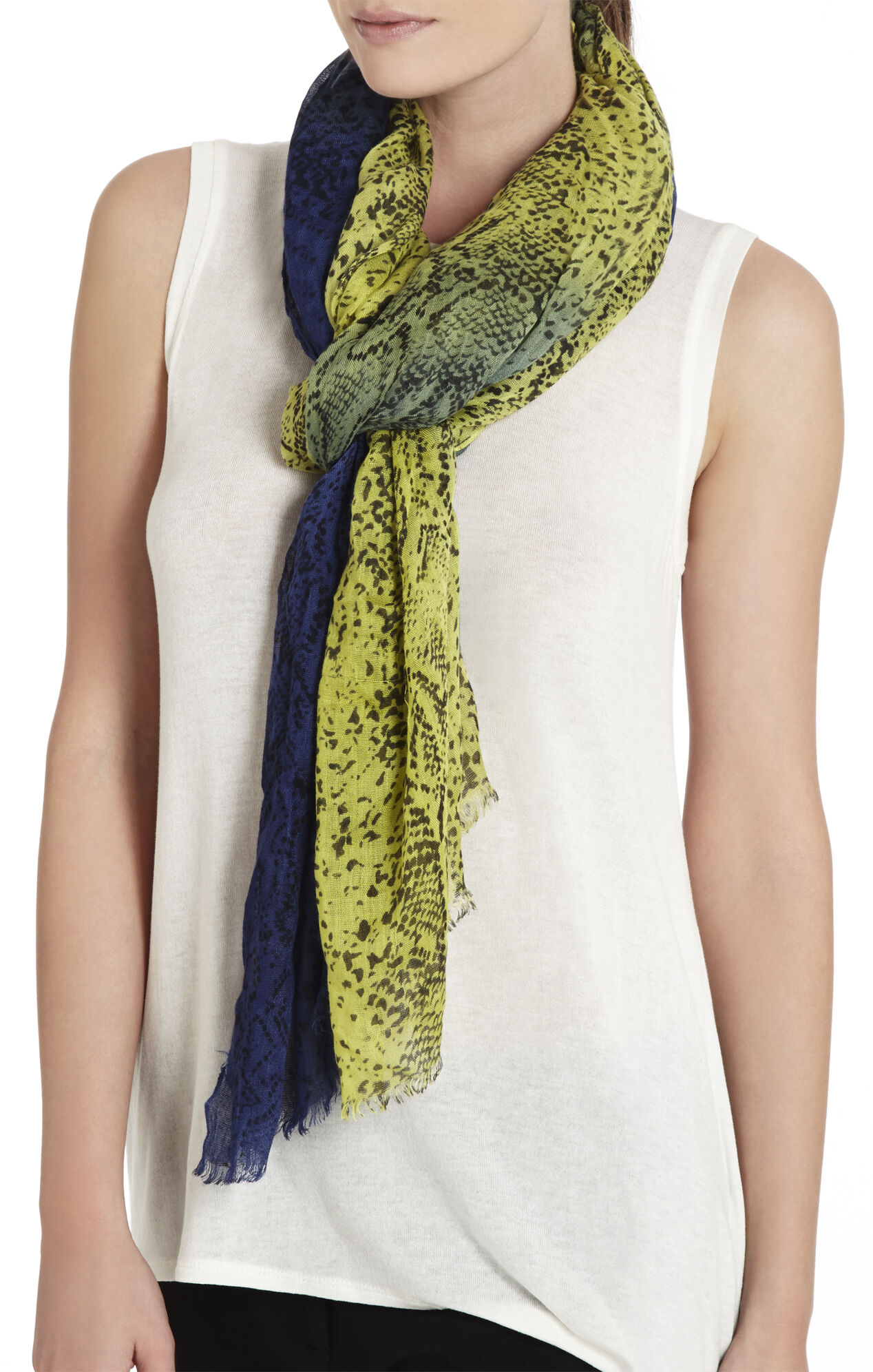 Ombre Snake-Print Scarf