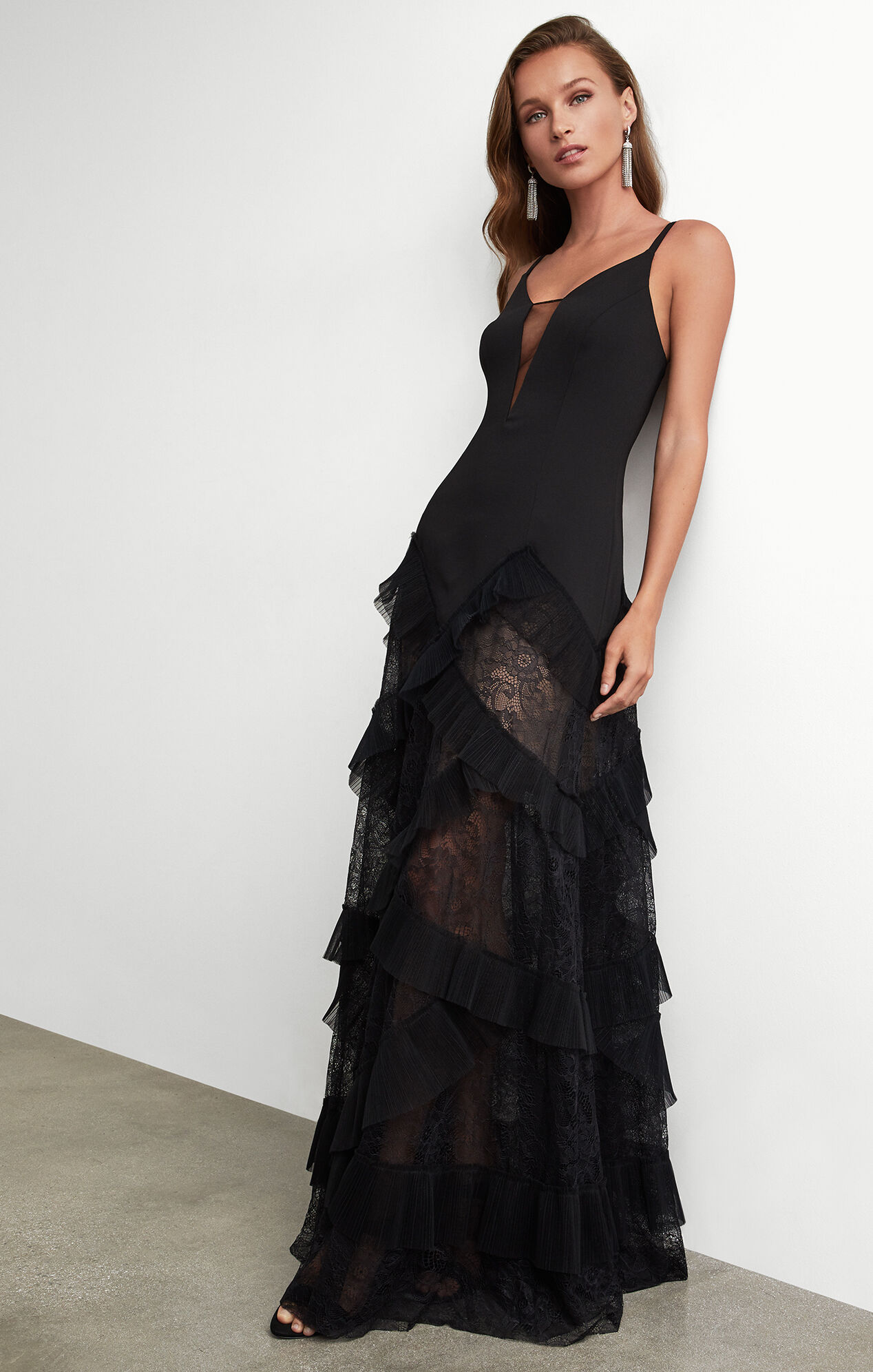 Black dress gown - Avaline Pleated Gown