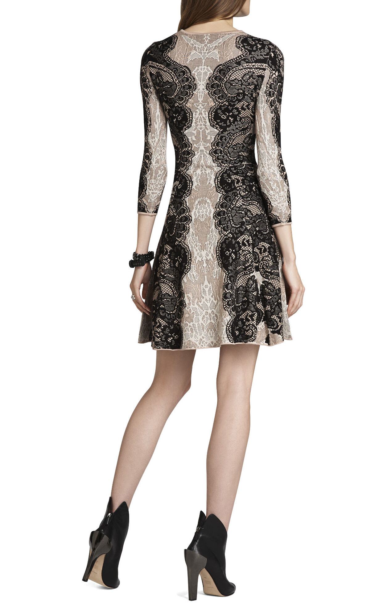 Alma Relief-Jacquard Lace A-Line Dress