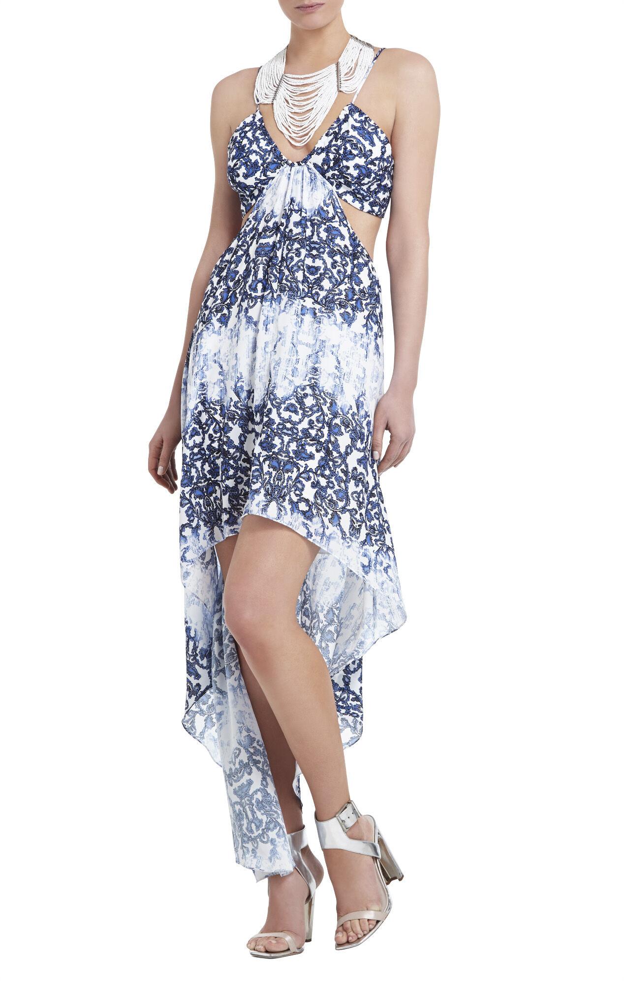 Alyce Printed Asymmetrical-Hem Dress