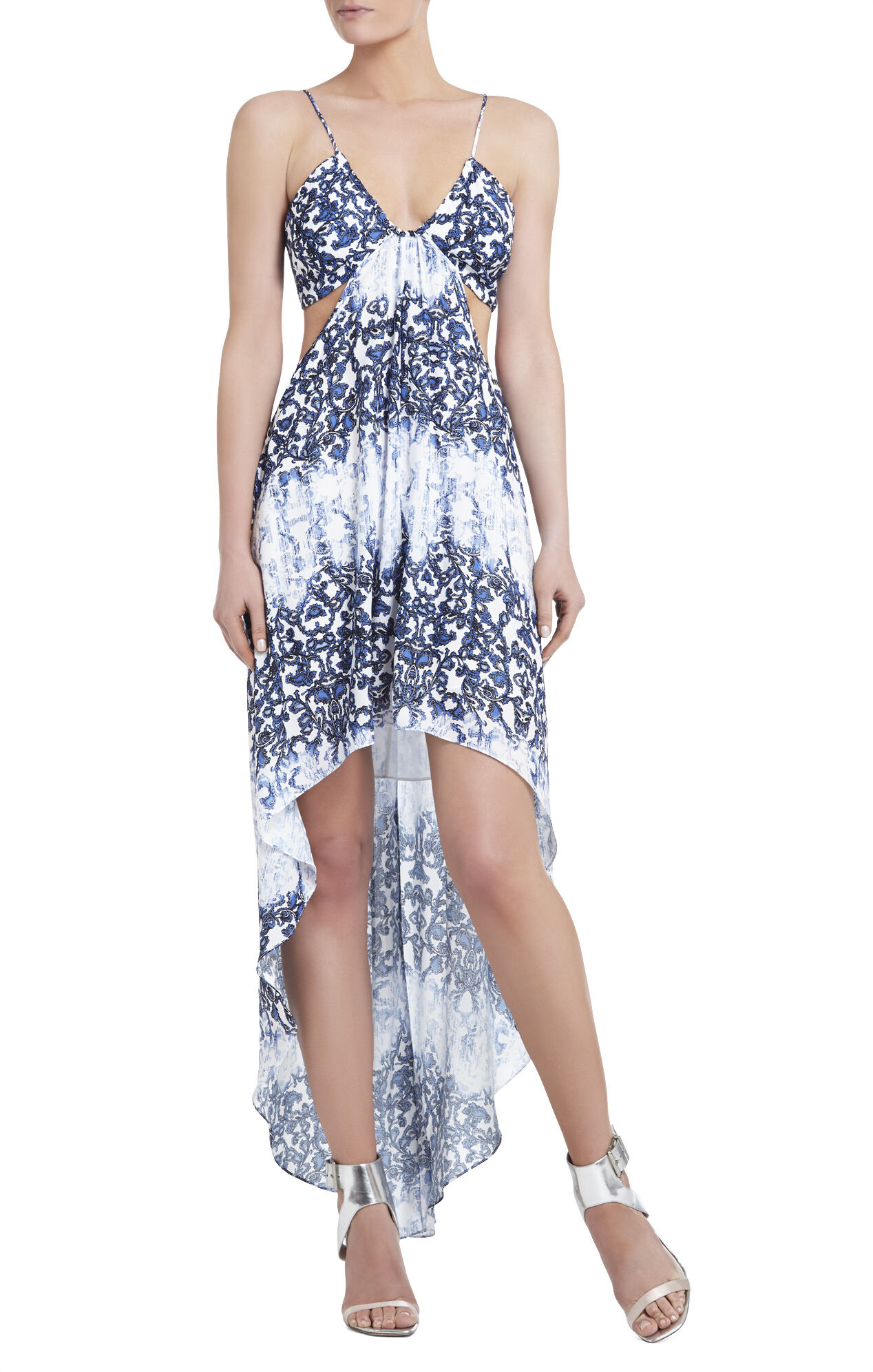 Alyce Printed Asymmetrical-Hem Dress