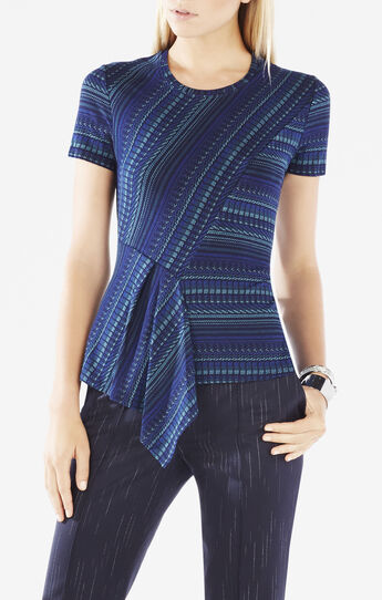 Bekki Striped Jacquard Asymmetrical Peplum Top