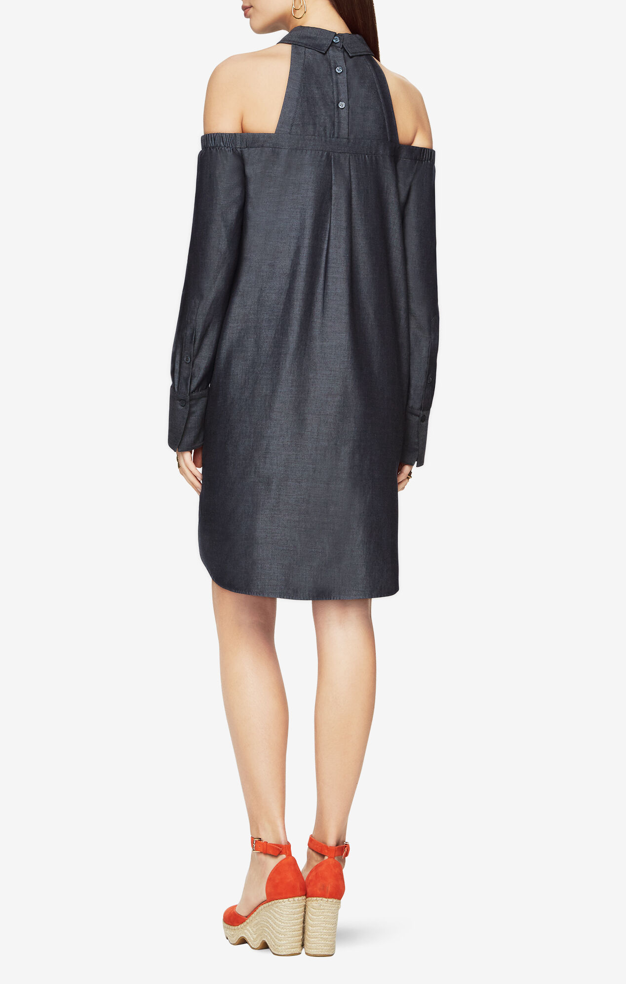 Rowan Cold-Shoulder Shirt Dress