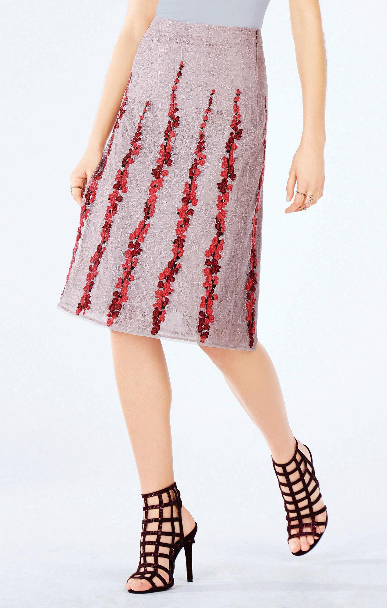 condella floral embroidered midi skirt