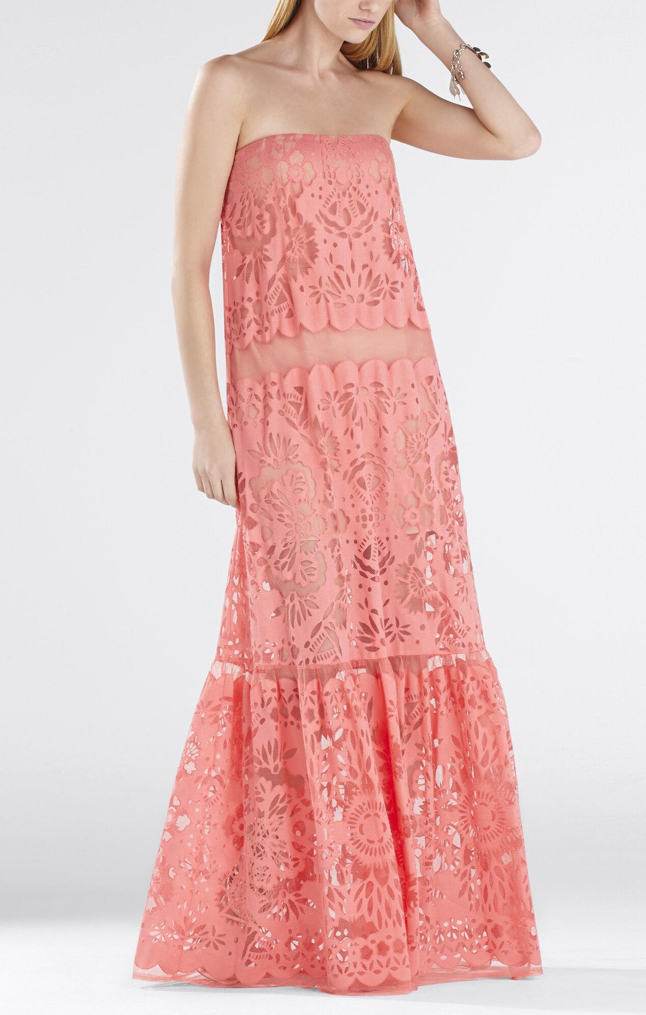 Melannie Strapless Bottom-Ruffle Gown