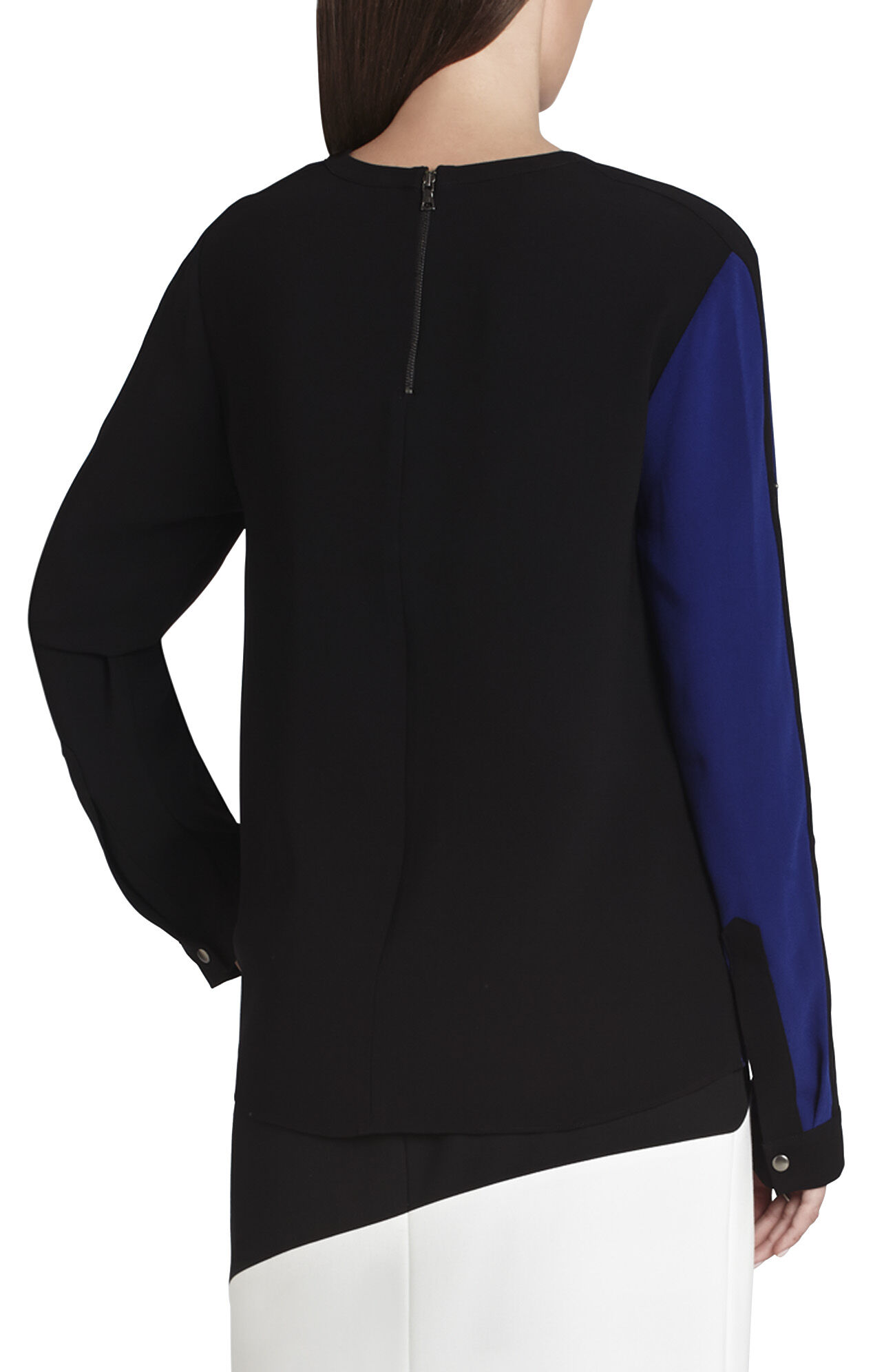 Carie Asymmetrical Zipper-Detailed Top