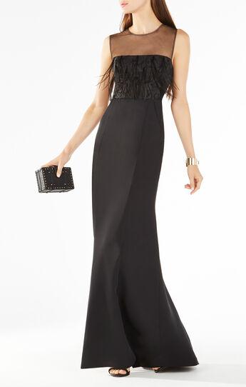 Junniva Ostrich Feather Applique Gown