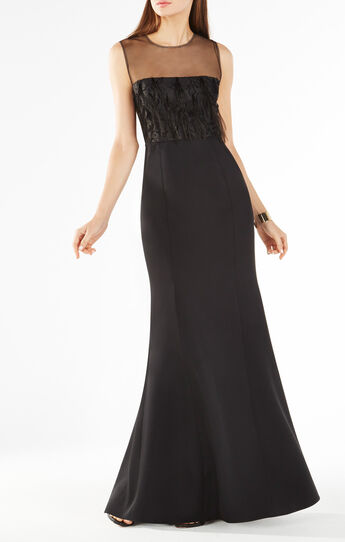 Junniva Ostrich Feather Applique Gown