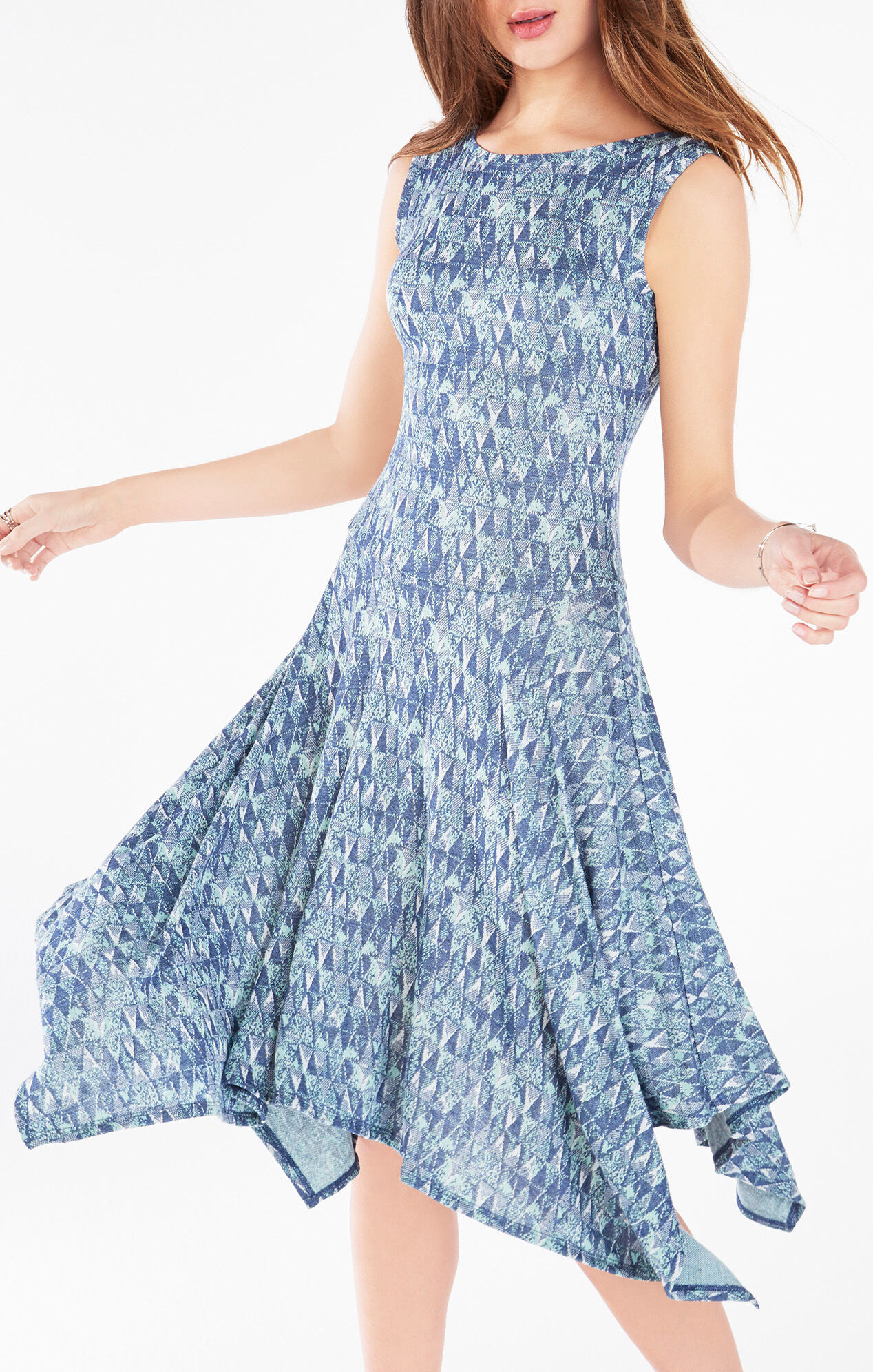 Eleyna Geometric Knit Jacquard Dress
