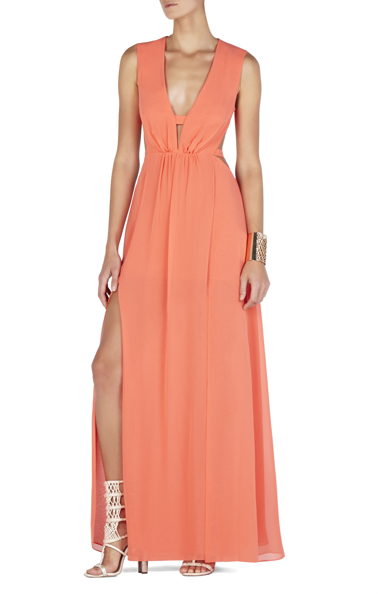 Alda Plunging V-Neck Cutout Gown