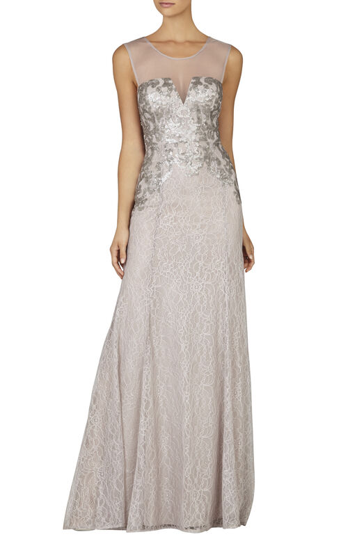 Julea Sleeveless Sequined Gown