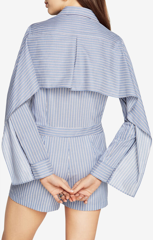 Clarence Striped Cape Romper
