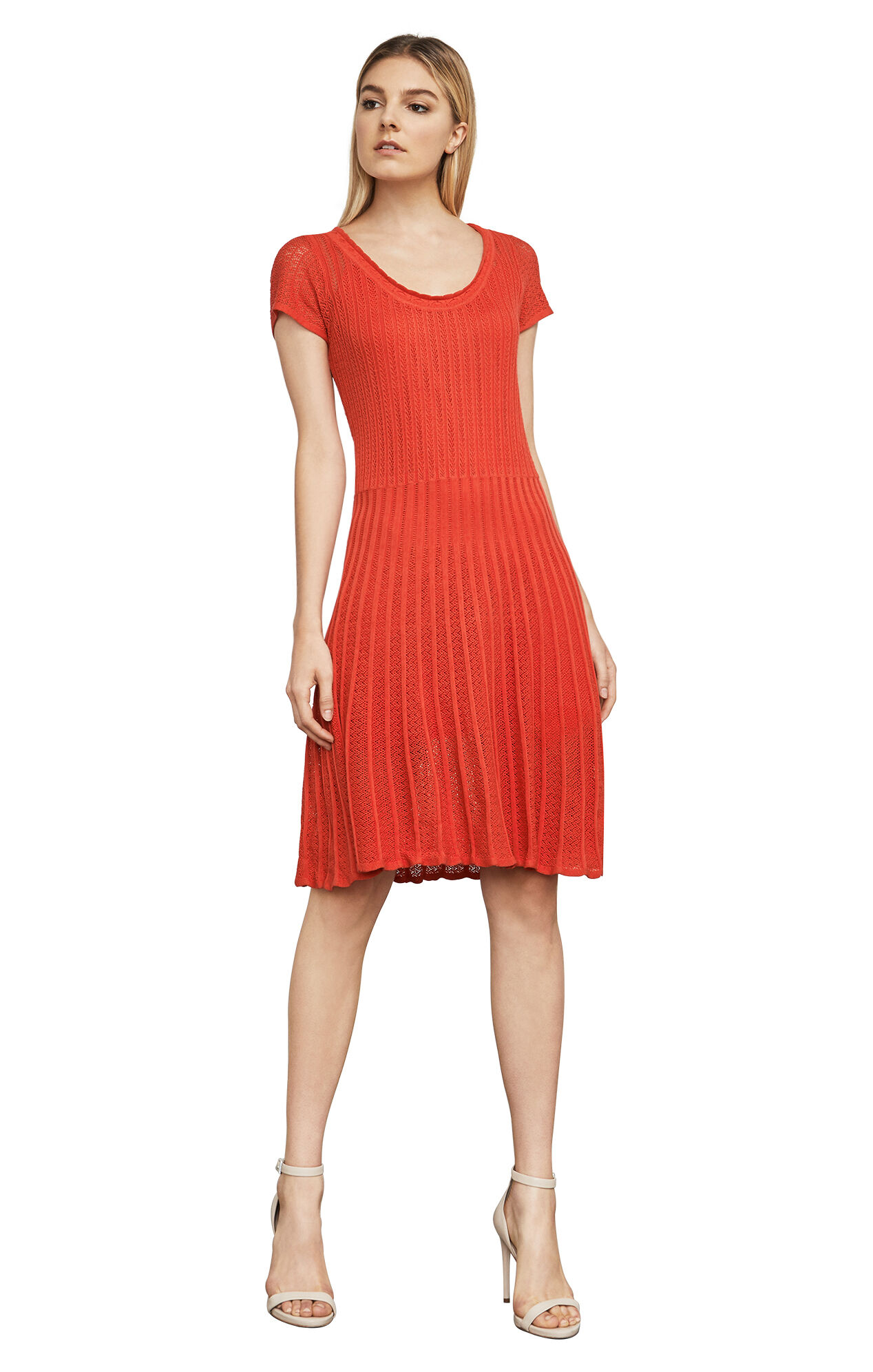 Anna Pointelle Silk-Knit Dress