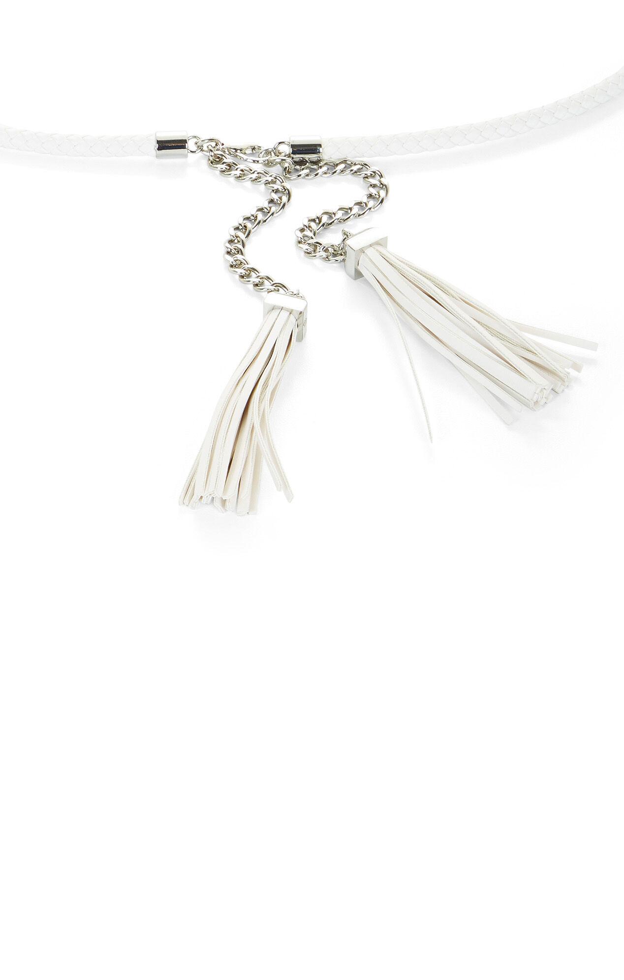 Braided Leather Tassel Belt