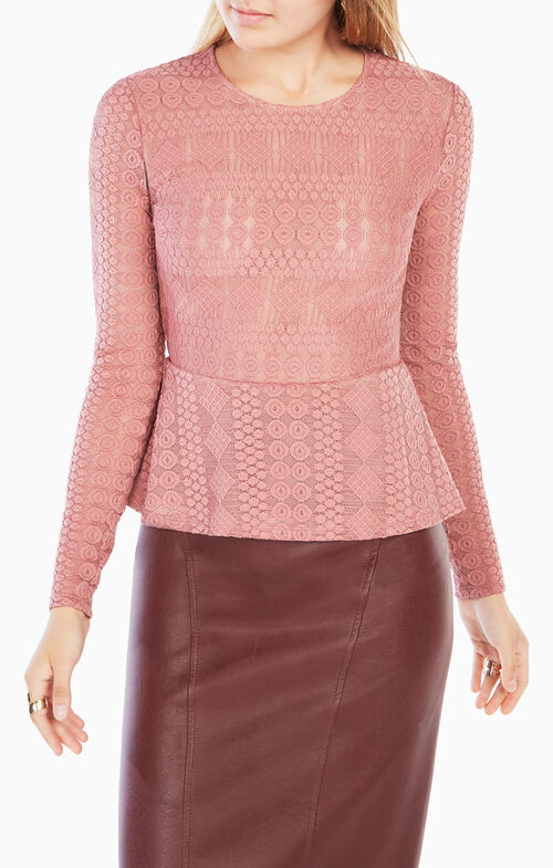 Michelle Lace Peplum Top