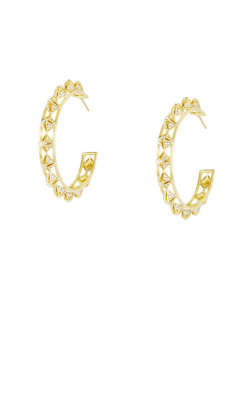 Stone Embellished Pyramid Hoop Earrings