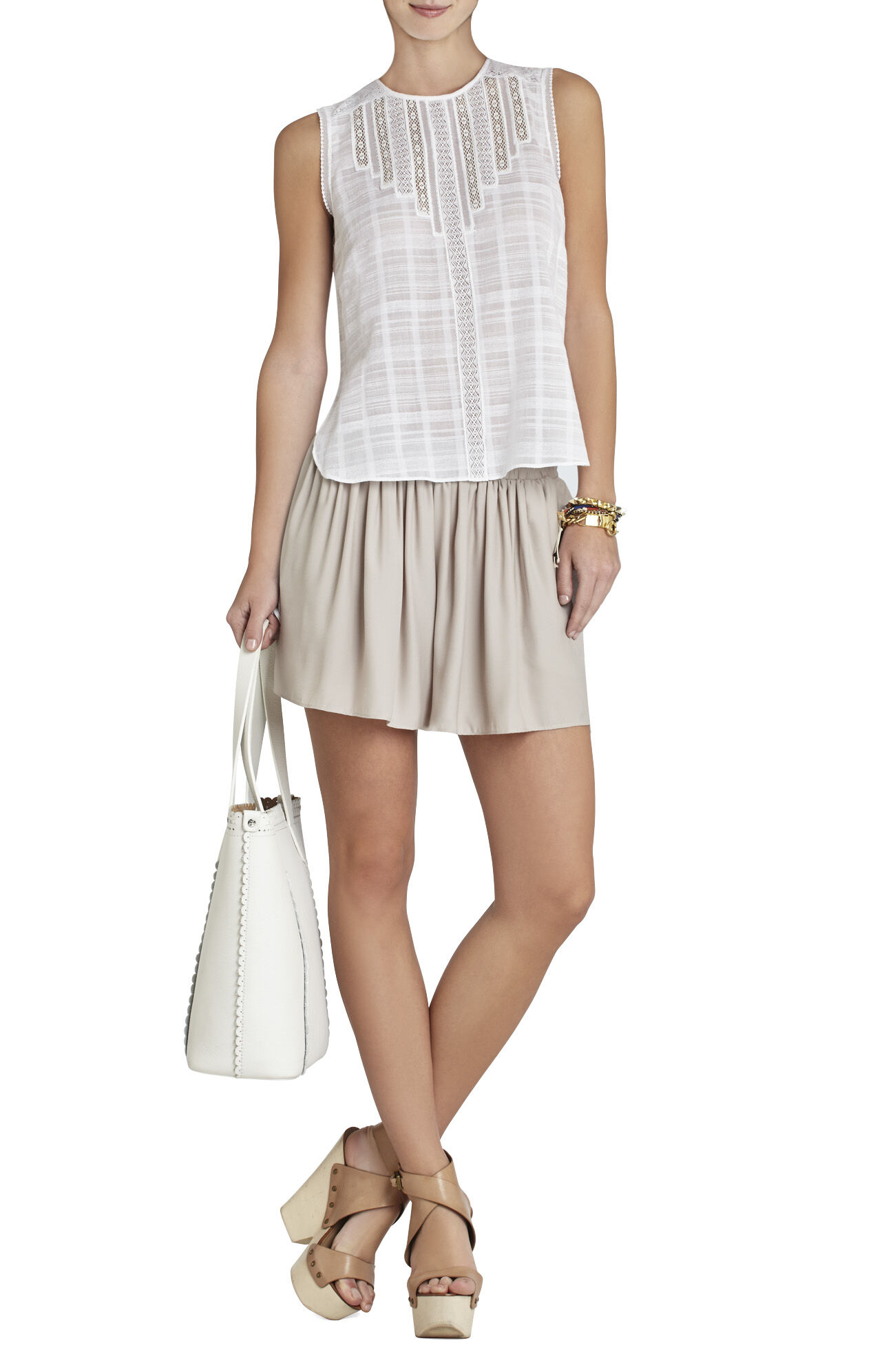 Marci Sleeveless Lace-Trim Top