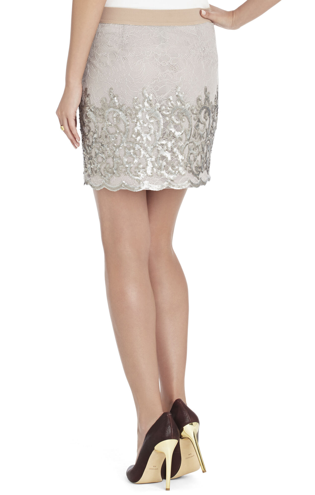 Ainslie Sequined Lace Skirt