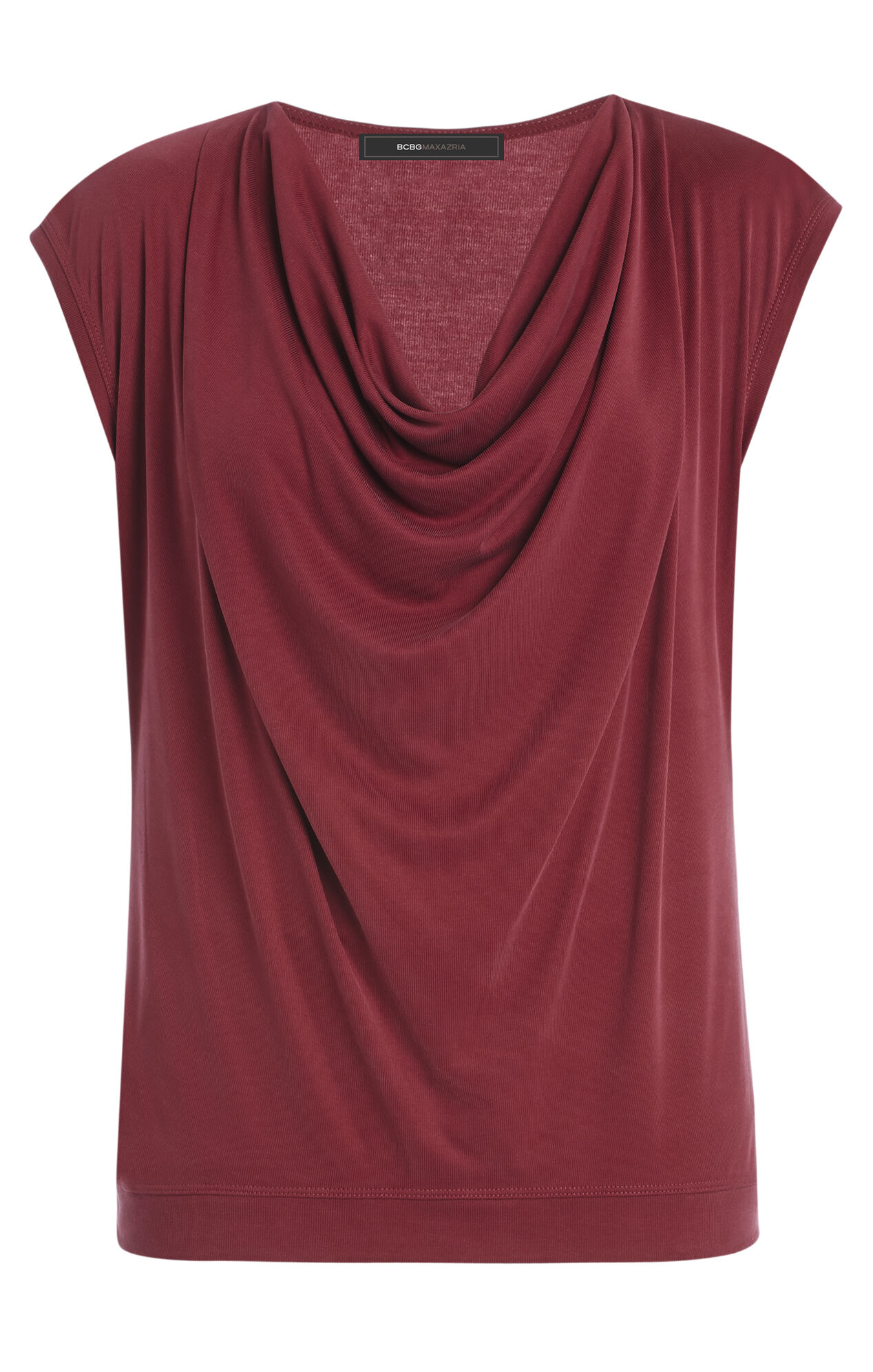 Kadie Cap-Sleeve Cowl-Neck Top