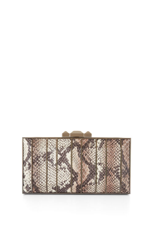 Estela Python Faux-Leather Clutch