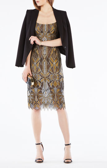 Alese Metallic Geometric Lace Dress