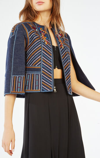 Zachary Embroidered Cape Jacket