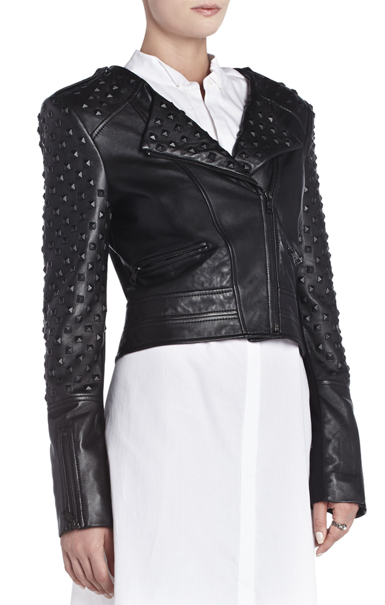 Novak Studded Leather Moto Jacket