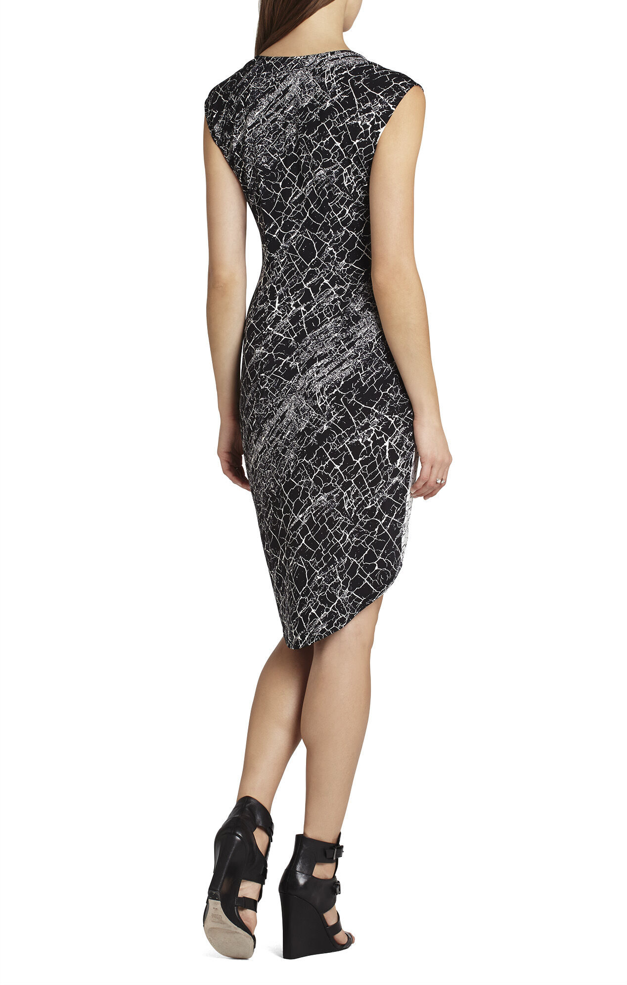 Tiffanie Cap-Sleeve Print-Blocked Dress