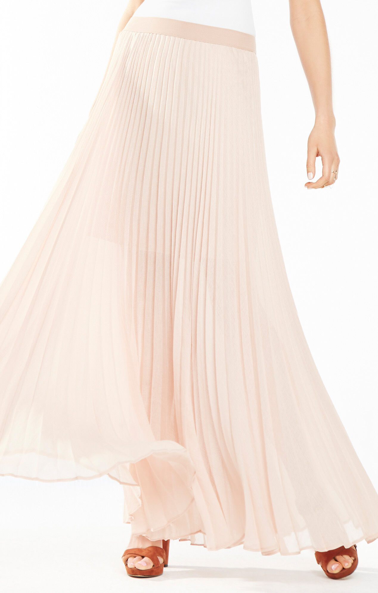 Estelle Sunburst-Pleated Maxi Skirt