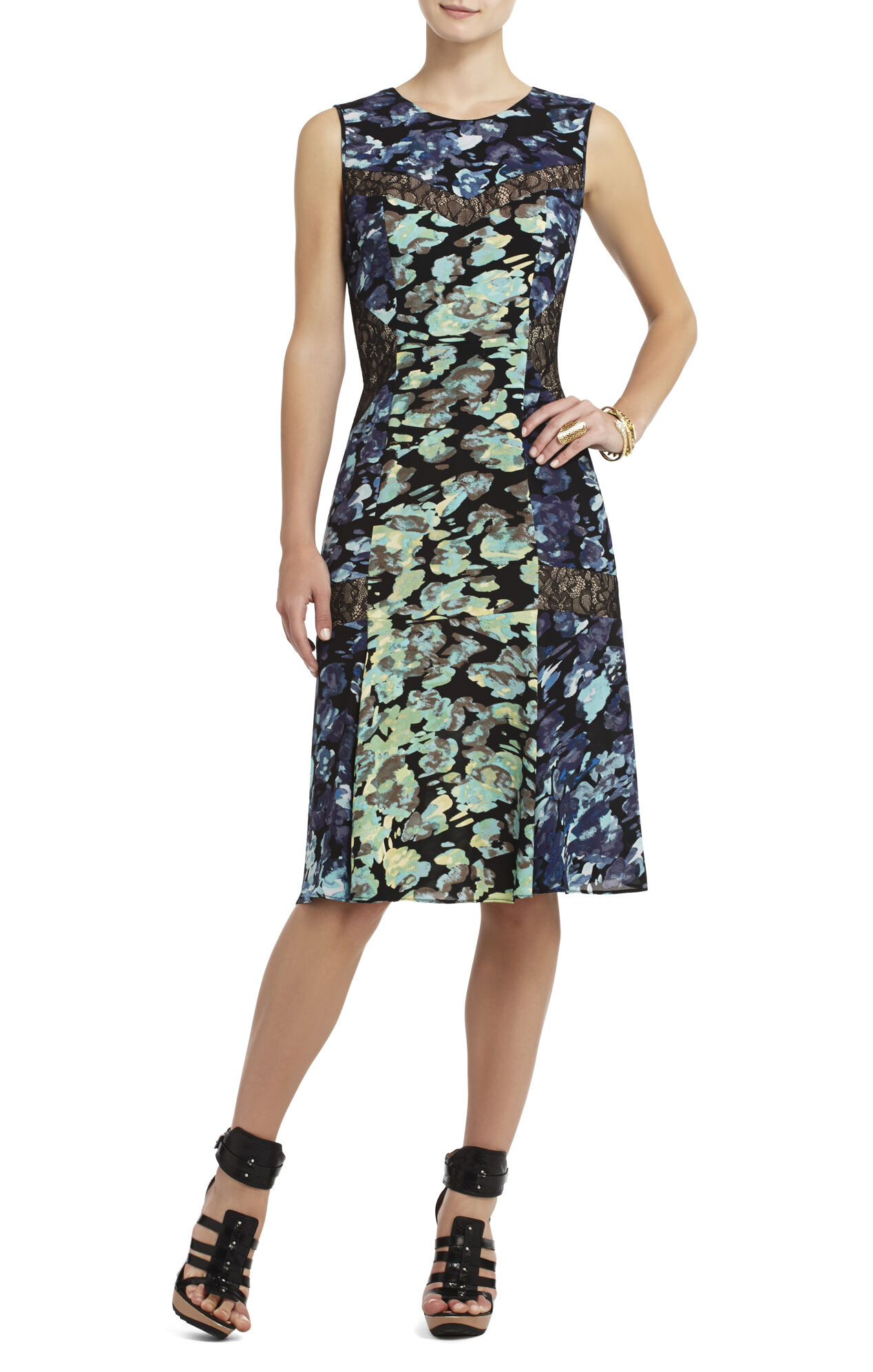 Jolie Printed Lace Inset Dress