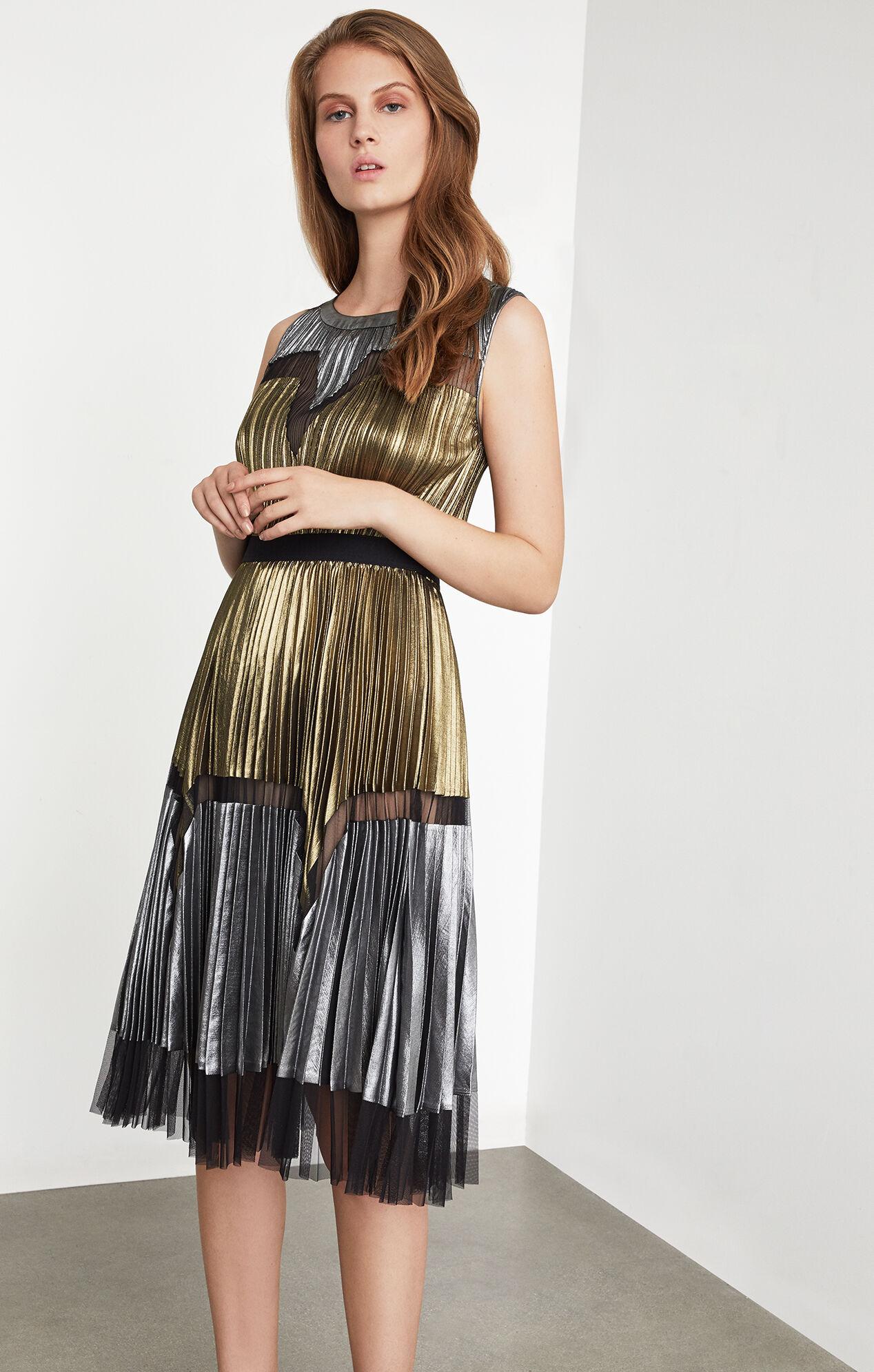 Lucea Pleated Metallic Dress