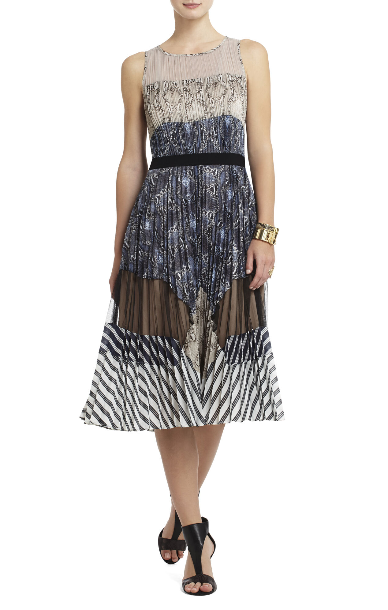 Audrina Print-Blocked Pleated Dress