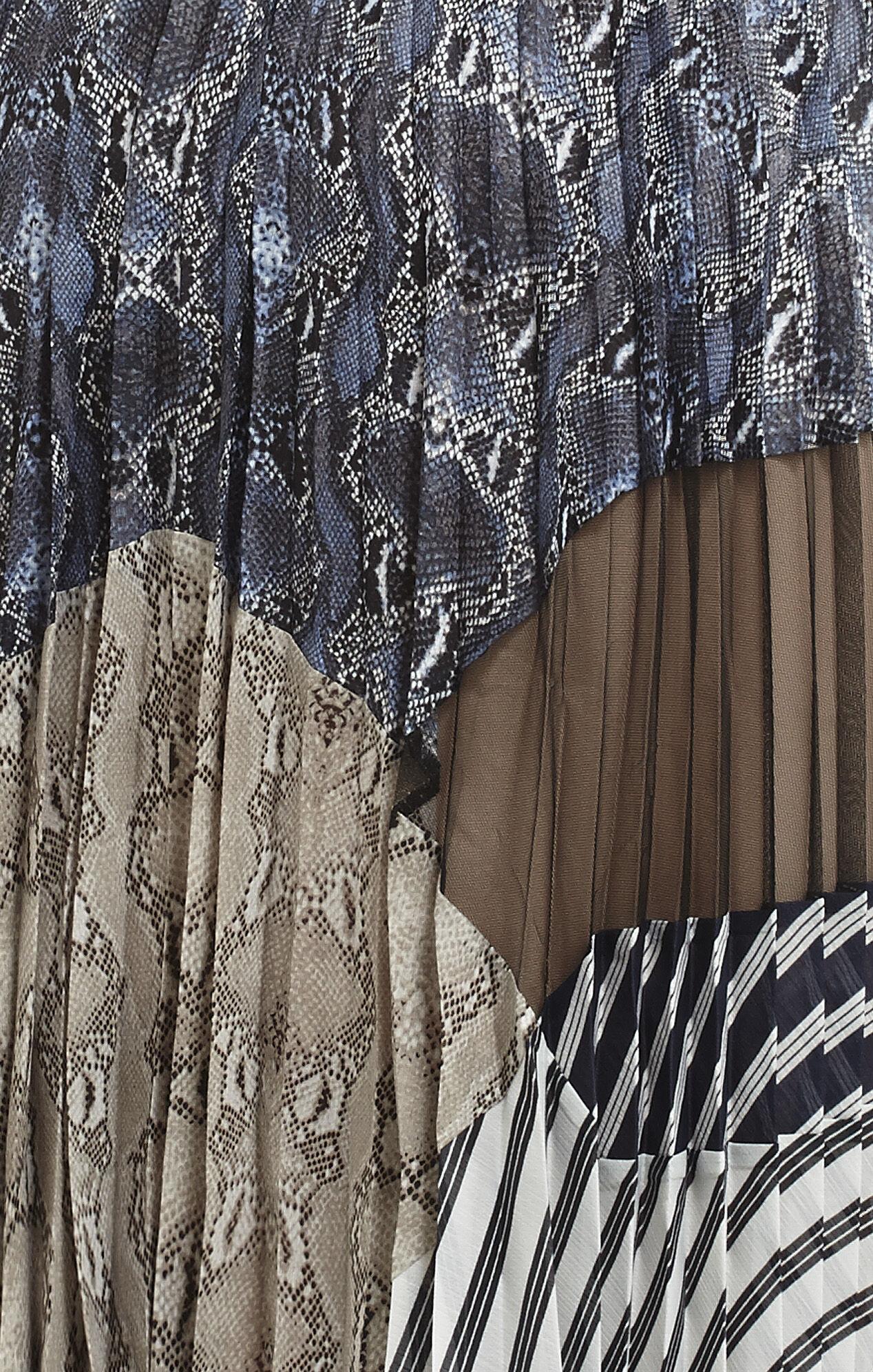 Audrina Print-Blocked Pleated Dress