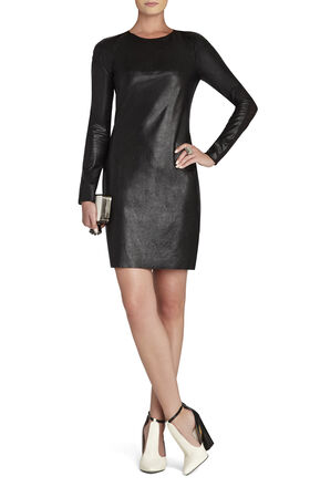 Jillea Mesh-Back Faux-Leather Dress